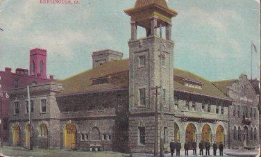 Men in Front of Building in Burlington Iowa IA, Vintage Postcard - 5411