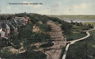 Western Promenade in Portland Maine ME 1913 Vintage Postcard - 5423