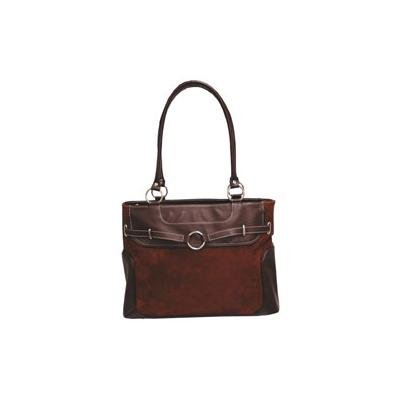 Global® Faux Suede Executive Tote, Chocolate Brown