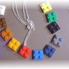 Lego plates pendant on sterling chain~pick your color