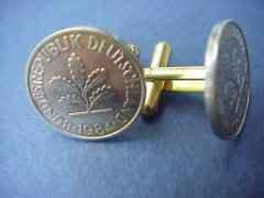 P's Coin Jewelry~GERMAN LEAF CUFFLINKS ~CLASSY