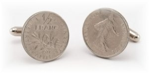 ~New coin Cufflinks FRENCH 1/2 FRANC SILVER COINS