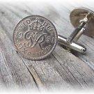 P'S COIN JEWELRY~English King George 6 pence cufflinks