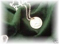 Phyl's Irish rabbit harp pendant~coin~sterling chain