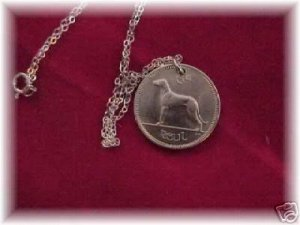 Irish wolfhound harp pendant~coin~sterling chain
