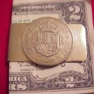 P'S COIN JEWELRY~BRITISH  HALF CROWN MONEY CLIP