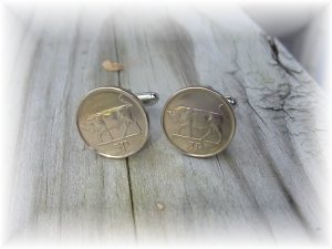 P'S COIN JEWELRY~IRISH BULL CUFFLINKS OR EARRINGS
