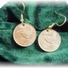 COIN JEWELRY  British farthing EARRINGS CUFFLINKS~WREN