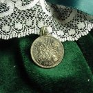 LUCKY WEDDING 6 PENCE PENDANT ENGLISH w/ sterling chain