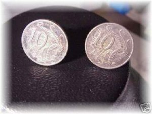 P'S COIN JEWELRY ~ lyrefish  cufflinks or earrings~