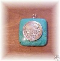COIN JEWELRY ~ Indian Head penny  and turquoise pendant