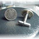 Coin jewelry~ Irish harp cufflinks or earrings~gift box