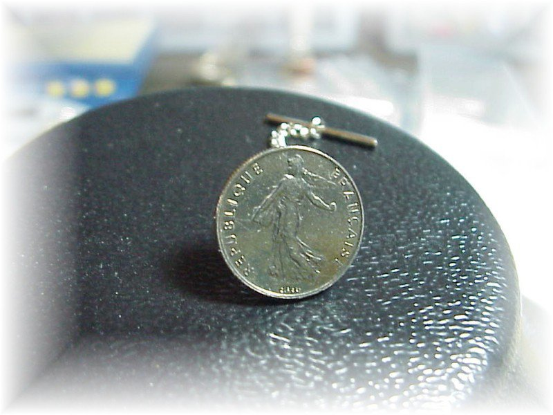 ~New coin Tie tack tac FRENCH 1/2 FRANC SILVER COIN