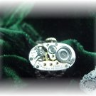 Steampunk silver watch adjustable ring victorian oval