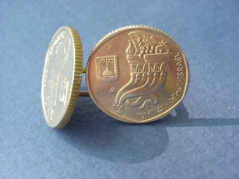 P's Coin Jewelry~ ISRAELI  CORNUCOPIA  GOLD CUFFLINKS or earrings~Judica