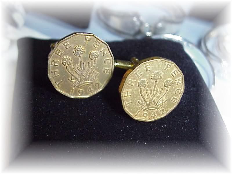 COIN CUFFLINKS English British Three pence~flowers