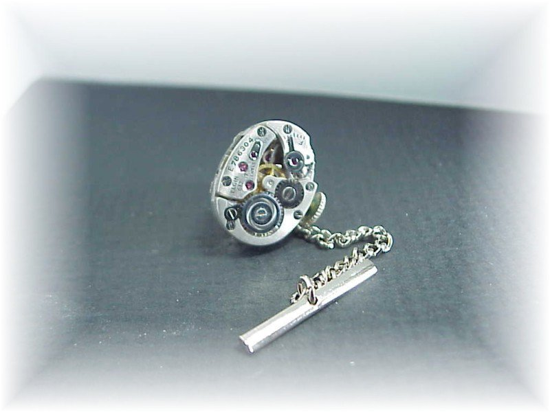 Steampunk Elgin jeweled watch tie tack  tac