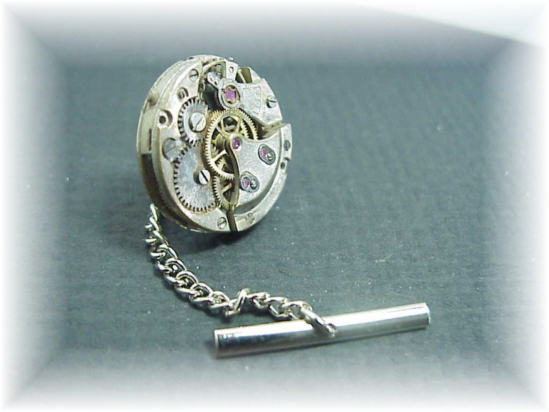 Steampunk round  jeweled watch tie tack  tac