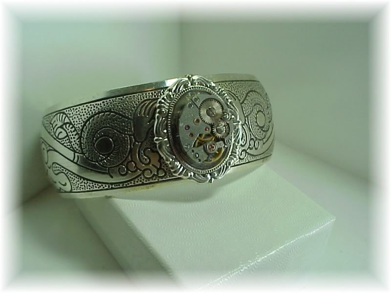 Steampunk silver watch adjustable cuff bracelet