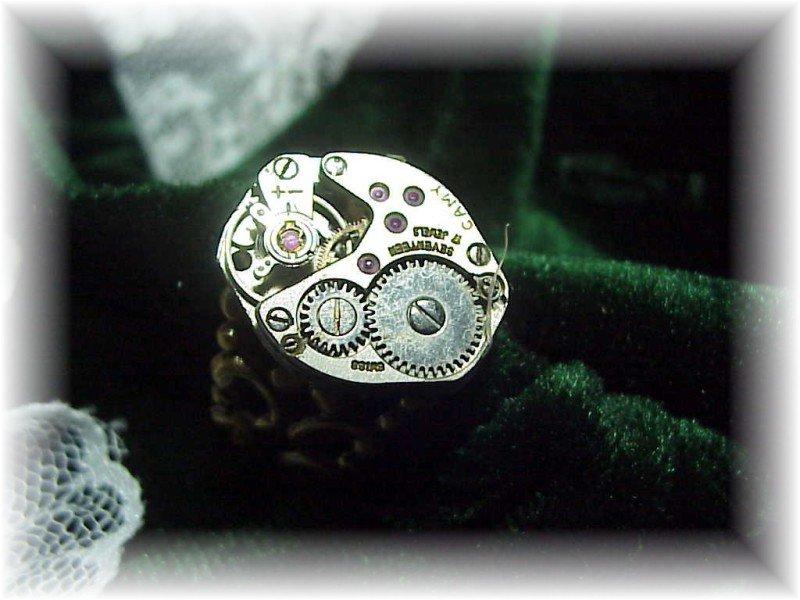 Steampunk silver watch adjustable bronze ring gift box