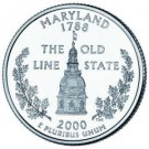 Maryland  State 2000 Quarter 25c USA Coin - New Cufflinks  FREE SHIPPING