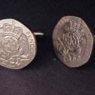 COIN JEWELRY~CLASSY ENGLISH 20 PENCE CUFFLINKS  Free shipping