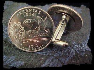 Cufflinks ARKANSAS State Quarter 25c USA Coin - New Cuffl  FREE SHIPPING