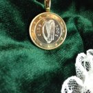 P'S  COIN JEWELRY~BIMETAL IRELAND IRISH  PENDANT~UNCIRCULATED HARP ONE EURO