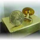 COIN CUFFLINKS ~GREEK 2 DRACHMA  RIFLES ~ UNCIRCULATED Free shipping and boxed