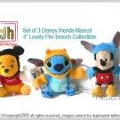 Pooh Stitch Mickey mix mascot pin brooch Disney Sega Japan