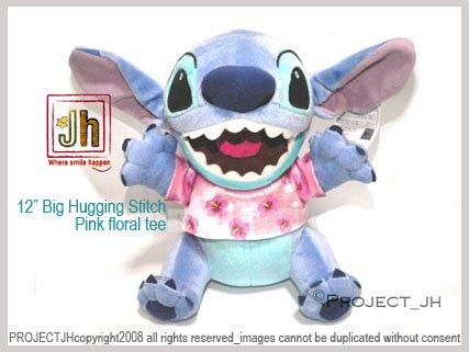 BIG Hawaii Stitch in Pink floral tee Disney Sega Japan