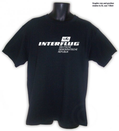 Interflug East German Retro Airline T-Shirt Black S, M, L, XL, 2XL