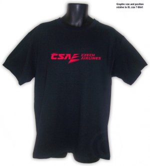 CSA, Czech Airlines Collectible BLACK T-SHIRT S, M, L, XL, 2XL