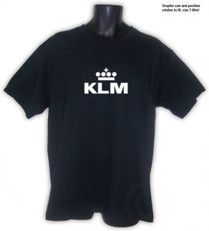 KLM Royal Dutch Airlines  Black T-SHIRT S, M, L , XL