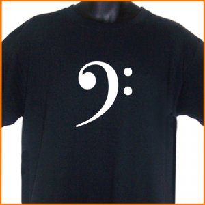 BASS CLEF Music Band Guitar T-shirt BLACK S, M, L, XL ~  FREE SHIPPING