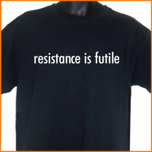 RESISTANCE IS FUTILE T-Shirt  2XL ~  FREE SHIPPING