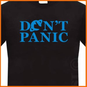 Don't Panic Hitchhiker's Guide T-Shirt Tee S, M, L, XL, 2XL