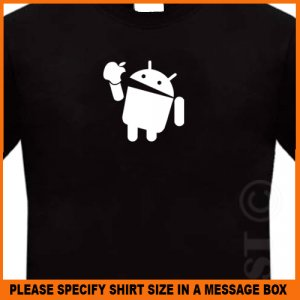 Android Eats Apple Funny Black NEW T-Shirt 7.95 S -XL
