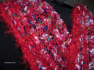 Hand Knit Red Warm Winter Scarf with Fringe Sequins Handknit