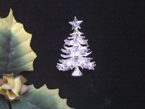 Dazzling Silvertone AB & Rhinestone Christmas Tree Brooch
