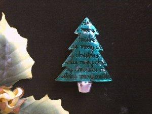 Wonderful MERRY CHRISTMAS Green Enamel Christmas Tree Pin