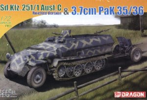 SdKfz 251/1 AUSF C RIVETTED VERSION and 3.7cm PaK35/36 ANTI-TANK GUN - 1/72 DML Dragon 7371