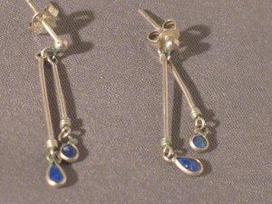 BLUE LASPIS DANGLY STERLING SILVER EARRINGS SO PRETTY VERY DAINTY MARKED