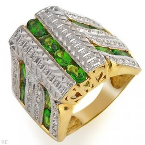 Ring With 3.75ctw Precious Stones Diamonds  Solid 14K Two tone Gold. Total item weight 16.3g sz 7