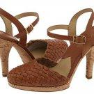 New MICHAEL KORS HEELS Gianna Cork Platform Shoes SIZE 10M LUGGAGE BROWN