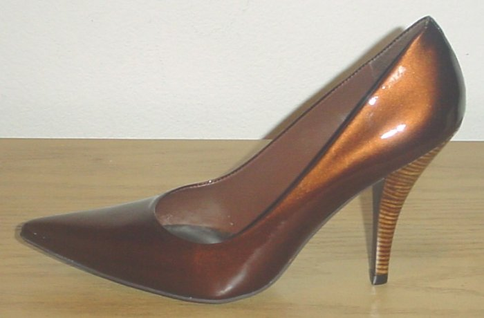 BCBG PUMPS Monde Stiletto Heels 9M BRONZE Leather Shoes