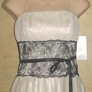 OLEG CASSINI DRESS Size 8 BONE/BLACK Formal Prom Occasion