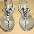 New KENNETH COLE JEWELED SANDALS Thong Shoes SIZE 9.5 BLACK Leather