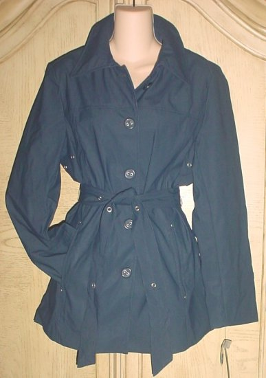 NWT LADIES BELTED TRENCH COAT Siena Studios Jacket  SIZE Medium NAVY BLUE