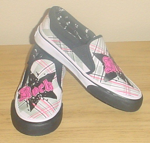 GIRLS Airwalk ROCK GRAPHIC SKATE SHOES Slip-On Sneaker YOUTH SIZE 5M BLACK/PINK